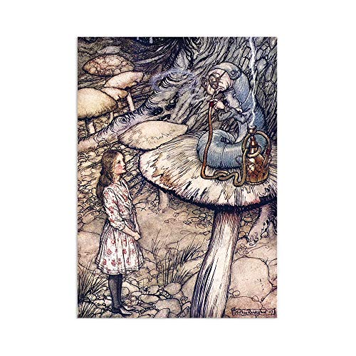 Alice In Wonderland Vintage Art Print Wall Poster Caterpillar Arthur Rackham A3 (Unframed)