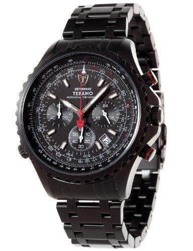 Detomaso DT1029-D - Reloj analógico de Cuarzo para Hombre con Correa de Acero Inoxidable, Color Negro