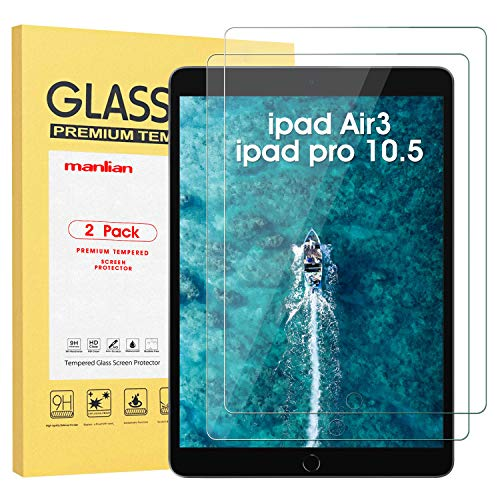 Manlian Screen Protector for ipad Air3 (10.5 Inch 2019 Model) and ipad pro10.5(2017) ,(2-pack) Premium Tempered Glass Film