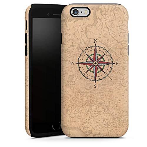 DeinDesign Cover Cellulare Opaca Compatibile con Apple iPhone 6s Plus Custodia Robusta Custodia Protettiva Opaca Bussola Mappamondo Wanderlust