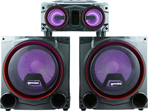 """Gemini Sound GSYS-4000 Bluetooth LED Party Light Stereo System and Home Theater Audio System with 4000W Watts Shelf Speakers, Dual 12"""" Woofers, Media Player, FM Radio, USB/SD Playback"""