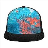 ZORIN Brim Plaid Berretto Da Baseball Regolabile 3D Stampato Cappelli Blu Bianca Rosso Miscelazione Liquido Marmo Snapback