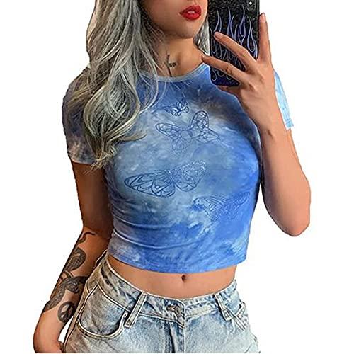 Y2k - Camiseta de manga corta para mujer con estampado gráfico impreso, estilo vintage A-azul. L