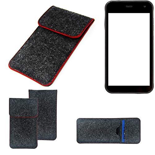 K-S-Trade Handy Schutz Hülle Für Cyrus CS 22 Schutzhülle Handyhülle Filztasche Pouch Tasche Hülle Sleeve Filzhülle Dunkelgrau Roter Rand