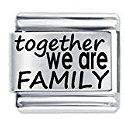 Together we are Family ETCHED Italian Charm Fits all 9mm Italian Style Charm Bracelets