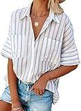 FIYOTE Damen Oberteile Hemd Casual Bluse Elegant V-Ausschnitt Langarmshirt Tops Tunika Hellblau S