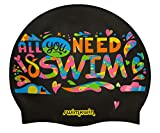 Gorro de Silicona All You Need is Swim | Gorro de Natación| Gorro de Piscina | Alta Comodidad y Adherencia | Diseño y Estilo Italiano