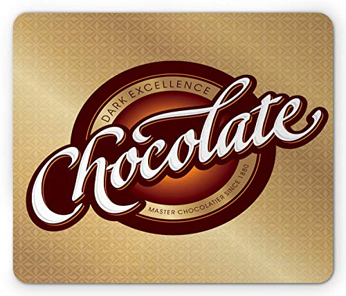 Chocolade muismat, Master Chocolatier Sign Dark Excellence Tekst Retro Style, Antislip Rubber muismat Bruin SBrown