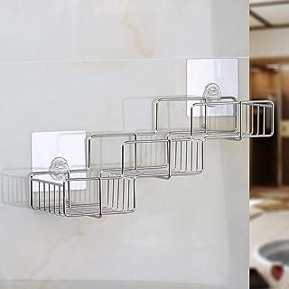 Étagère de salle de bain, étagère de douche, étagère en acier inoxydable, support de rangement de rangement mural autocoll...