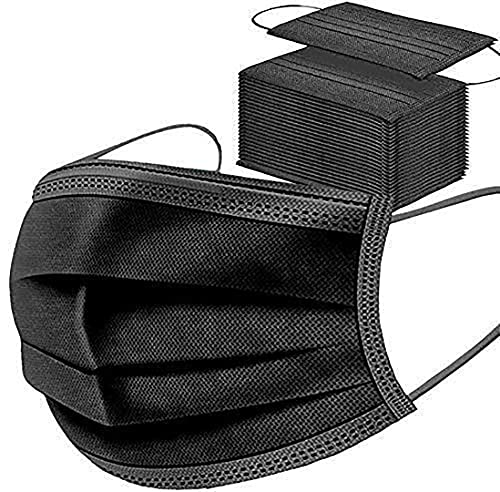 Mascarillas Quirúrgicas Protección 100 Unidades con Elástico para Los Oídos 3 Capas, Negro