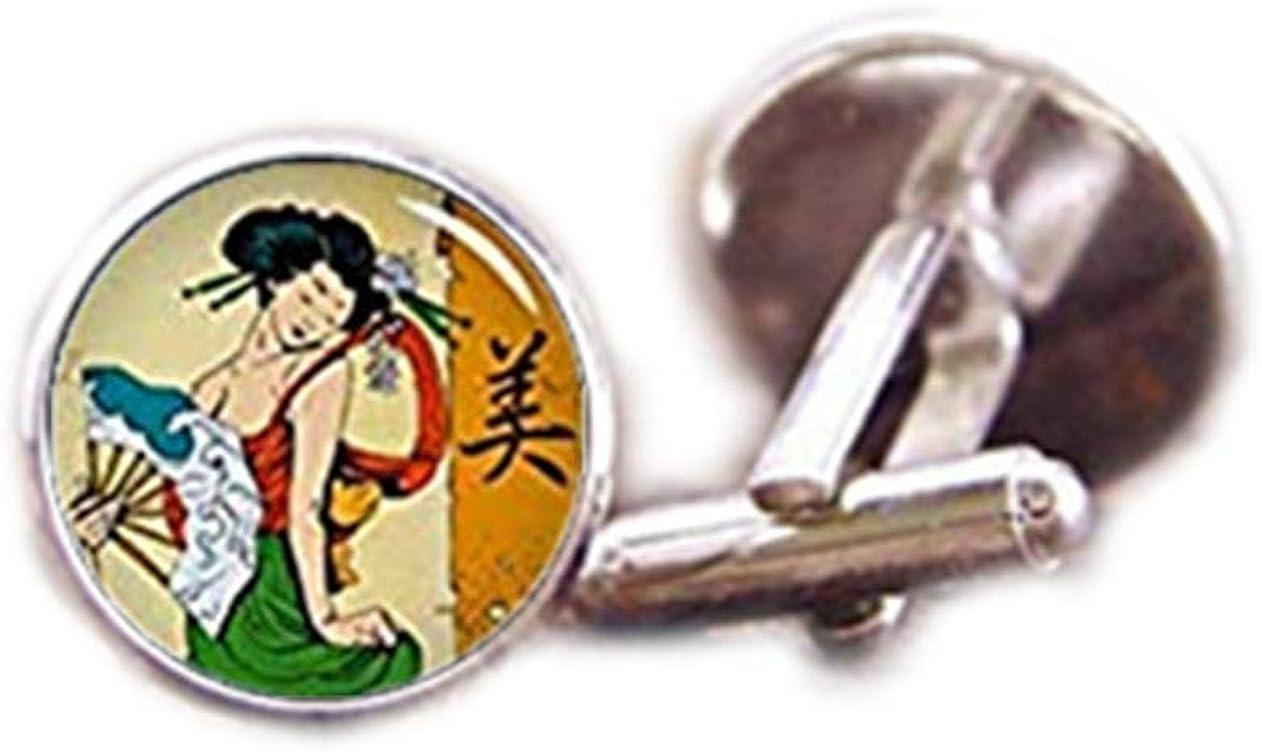 Death Devil Art Picture Cuff Links,Vintage Geisha Cufflinks, Geisha Cuff Links, Japanese Culture, Geisha Tie Clip, Custom Wedding Cufflinks, Groom Cufflink, Vintage Cuff Links,Gift of Love