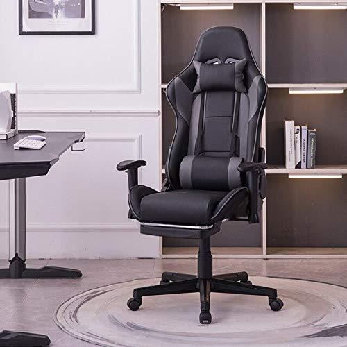SJVR Gaming-Stuhl Racing Office, Gaming Racing PC Gamer Stuhl Luxus-Bürospielstuhl mit Fußstütze Boss Computer Chair Degrees Reclining Lifting Drehbarer Leder-Schreibtischstuhl mit Fußstütze