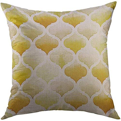 LisaArticles Kussenslopen, Beige Lattice Tanger van gele kleuren op witte aquarel pittige mosterd morrocan aquarel aantrekkelijke nieuwigheid kussenslopen