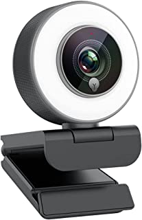 Streaming 1080P Webcam, Web Cam with Adjustable Ring Fill Light/Fast autofocus Web Camera for Xbox Gamer Facebook YouTube ...