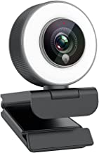 Angetube Streaming 1080P HD Webcam Built in Adjustable Ring Light and Mic. Advanced autofocus AF Web Camera for Google Mee...