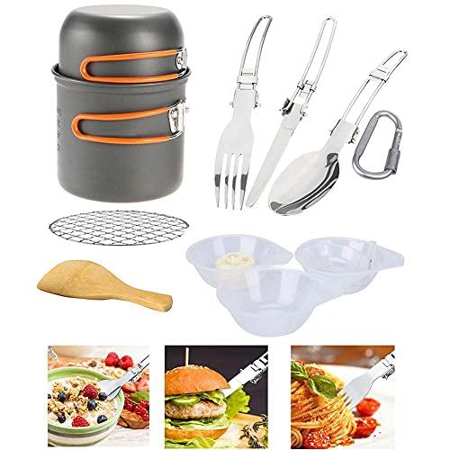 Heavy Duty Piquetas Cookware Que Acampa Kit Hikking Cocinar Kit De Picnic Antiadherente De Cocción Fijado con Vajilla para Mochilero Trekking Naranja