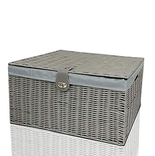 Clarisworld Resin Woven Hamper Basket Storage Chest Trunk Hamper/Kids Toy with Lid, Lock and Removable Lining, W49 x D35 x H22cm (Grey)