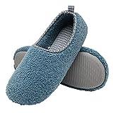 ChayChax Zapatillas de Estar por Casa para Mujer Invierno Cálido Pantuflas Memoria Espuma Ligero Comodo Suave Interior Zapatos de Algodón,Azul,EU 42-43