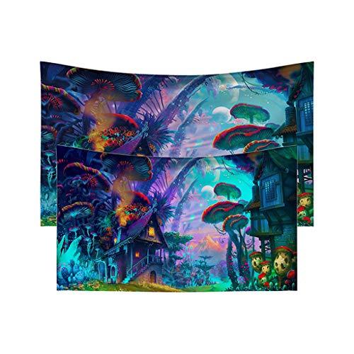 Fenteer 2 x Wandteppich Digital Art Tapisserie Wand Picknik Decke Strand Tuch Fenstervorhänge