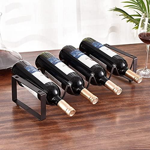 SUHETI Botellero de Metal para Vino Vertical, Estante de Hierro Rústico Botelleros, Diseño Moderno para Decoración de la Mesa del Hogar
