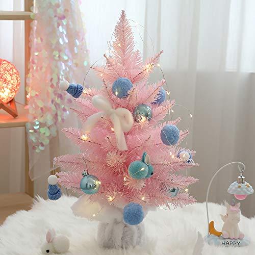 SHBV Mini Escritorio Rosa árbol De Navidad,Decoración Artificial Árbol Navideña Protección del Medio Ambiente PVC para El Hogar