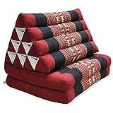 wifash Cojn triangulo Tai, con colchoneta Plegable 2 Pliegues, Fabricado en Tailandia, Rojo/nego con elephantes (82702)