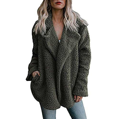 Vexiangni Chaqueta de forro polar para mujer, chaqueta de felpa para mujer, corta, parte delantera abierta, chaqueta de lana sintética, abrigo corto cálido, cárdigan, tallas grandes, verde, M