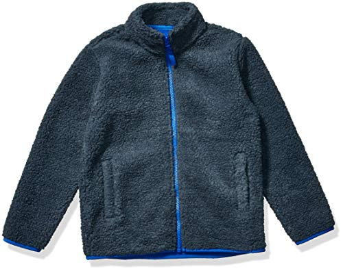 Amazon Essentials Kids Boys Polar Fleece Lined Sherpa Full-Zip Jackets, Dark Grey, Small