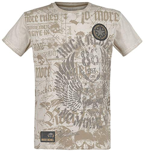 Rock Rebel by EMP Rebel Soul Hombre Camiseta Beige S, 100% algodón, Regular