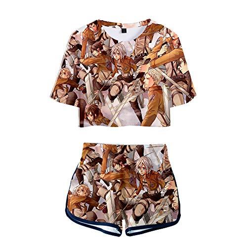 XSHUAISIJI Mujer 3D Conjunto de Camiseta Ombligo Attack on Titan Survey Corps Eren Mikasa Levi Impresión 3D Doble Cara Ombligo Manga Corta y Pantalones Cortos Traje Casual Sexy Moda Todo Partido Set