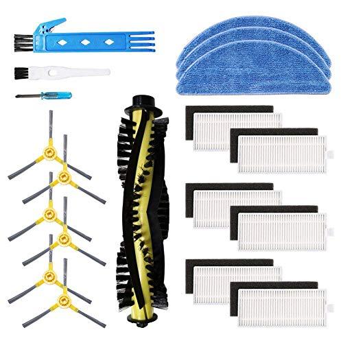 Kit accessori di ricambio per aspirapolvere robot IKOHS netbot S15, materiale premium, confezione famiglia di 1 spazzola principale + 6 filtri + 6 spazzole laterali + 3 mop