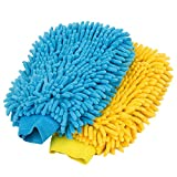 MR.SIGA Premium Microfiber Soft Chenille Car Wash Mitt, Pack of 2, Blue & Yellow