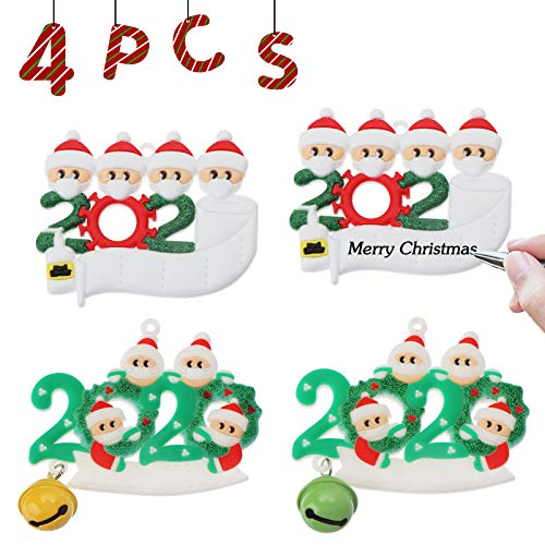 JESTOP Christmas Ornament Kit 4PCS, 2020 Quarantine Survivor Family Name Customized Christmas Hanging Decorating Kit for Tree Creative Gift, 4 People