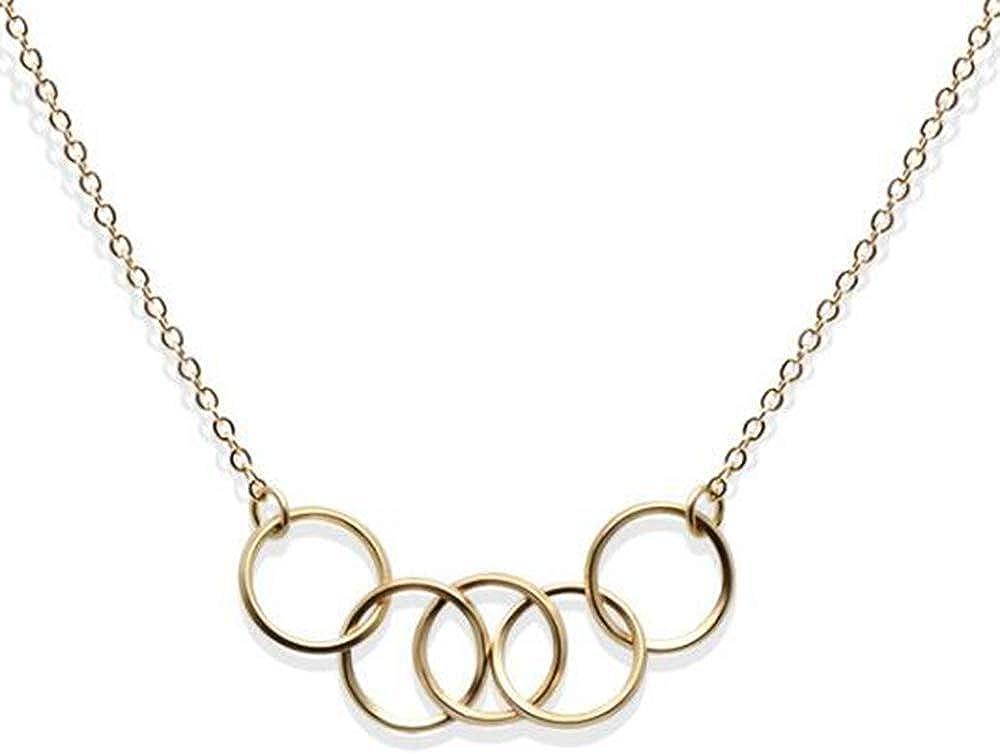 SDT Jewelry Stainless Steel Infinity Circle Interlocking Karma Collar Charm Necklace