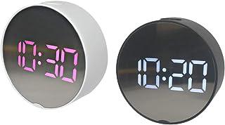 FLAMEER 2 x LED väckarklocka lätt att läsa vid sängen för sovrum kontor resor barn