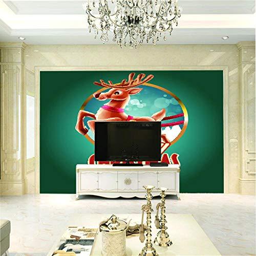 Fototapete 3D Wandbilder Für Fernseher Hintergrund Wohnzimmer 3D Tapete Effekt Vlies Wandbild Schlafzimmer Weihnachtselch200X140Cm