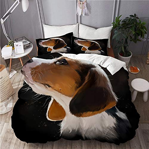 Mokale Duvet Cover Set,beagle puppy portrait watercolor painting,Bedroom,Dorm room,Decorative 3 Piece Bedding Set with 2 Pillowcase,Double Size