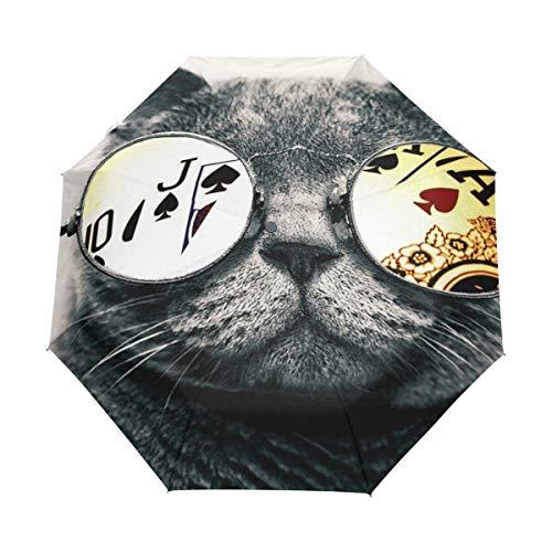 Vaso De Poker Gato Negro Paraguas Plegable Hombre Automático Abrir y Cerrar...