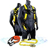 KwikSafety (Charlotte, NC) THUNDER COMBO | 3D Ring Full Body Safety Harness, 6'' Lanyard, Tool Lanyard, ANSI OSHA PPE Fall Protection Arrest Restraint Equipment Universal Construction Roofing Bucket
