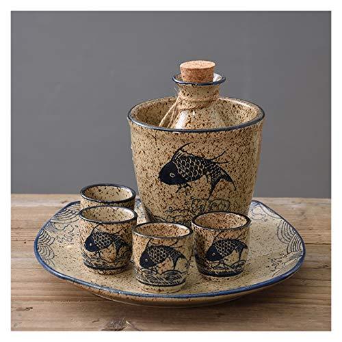 XHBH Japanese Sake Wine Hip Flask Hogar Barware Frascos Frascos Hecho A Mano Hombre Conjunto Cerámica Sake Potes 4.16 (Color : Style15)