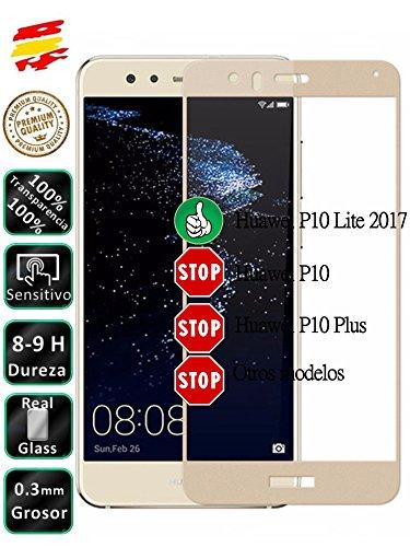 Movilrey Protector para Huawei P10 Lite Dorado Completo 3D Cristal Templado de...