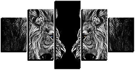 Roaring Lion Mirror Painting 1 Piece Canvas Print Wall Art
