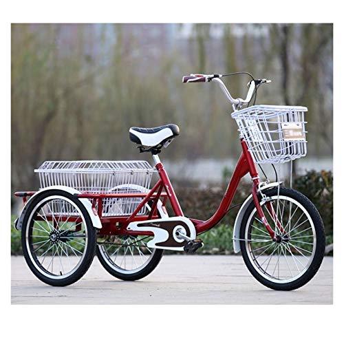 SN Triciclos para Adultos Personas Mayores Bicicleta Triciclo 20 Pulgadas Bicicleta De Tres Ruedas con Paso Bajo A Través Marco Y Canasta Asiento Ajustable (Color : Red, Size : 20inch)