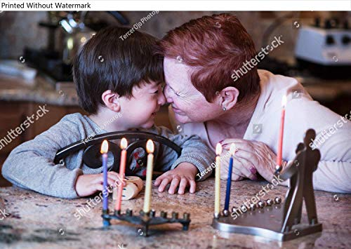 KwikMedia Poster of Short haired red Head Grandmother and her Young Grandson rub noses in Front of The Hanukkah Candles Enjoying The Holidays