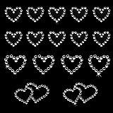 Oblique-Unique® 16 Stück Herz Sticker Strass Steine zum Verzieren oder Aufkleben (Silber)