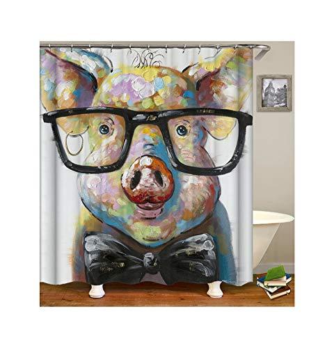 Dreamdge Duschvorhangs Buntes Schwein, Wasserdicht Antibakteriell Polyester Vorhang Für Dusche & Badewanne Duschvorhangs 180X180 Mit 12 Haken