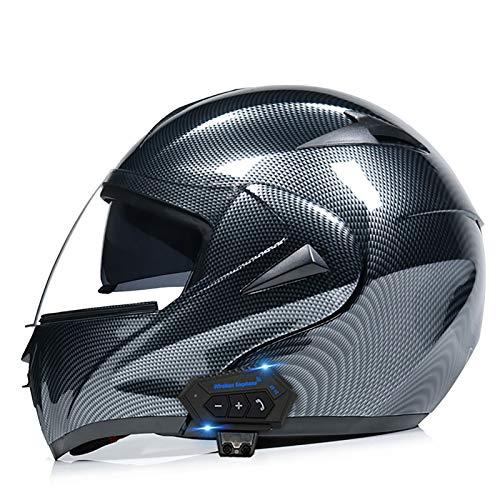 STRTG Casco Modulare Bluetooth Moto Integrat, con Doppio Visiera Parasole Integrale, Casco Certificato DOT, Sistema di Comunicazione Interfono Integrato Radio FM Mp3 Integrato 13,XL(59-60CM)