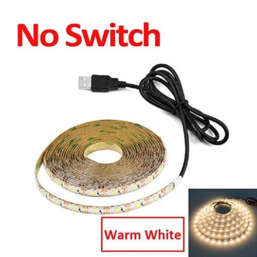 CHUNMA USB 5V DC Lámpara barrido de movimiento LED de retroiluminación LED TV Cocina tira de LED de la mano que agita en OFF sensor de luz de diodo Luces impermeables (Color : No Switch Warm)