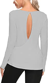 Zcavy Workout Tops for Women Open Back Long Sleeve Athletic Shirts Thumb Hole Yoga Shirts