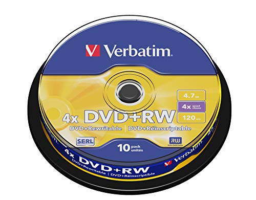 Verbatim 43488 DVD+RW, 4.7 Gb, 4x, Spindle, 10 Pezzi